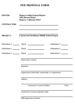 Fee Proposal Form