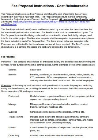 Fee Proposal Instructions