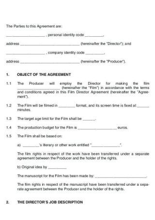 Film Director Contract