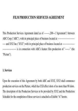 Film Production Services Contract