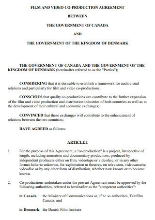 Film and Video Production Agreement Contract