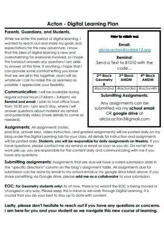 Formal Digital Learning Plan