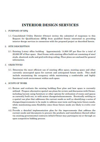 Formal Interior Design Scope of Work