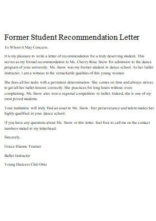 Former Student Letter Of Recommendation