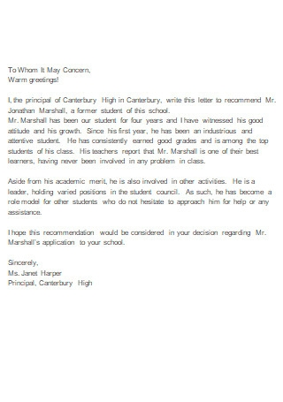 Free Letter of Recommendation For High School Student