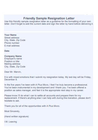 Friendly Resignation Letter