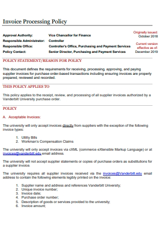 Invoice Processing Policy