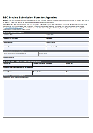 Invoice Submission Form For Agencies
