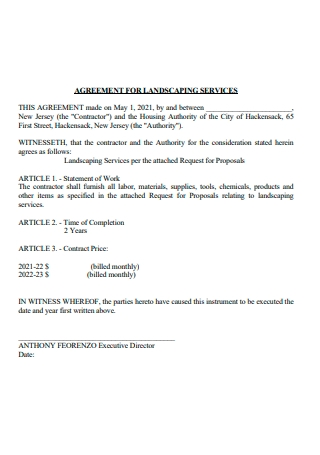 Landscaping Services Agreement Contract