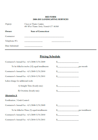 Landscaping Services Contract Bid Form