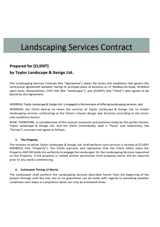 Landscaping Services Contract in PDF