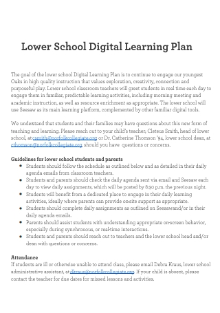 Lower School Digital Learning Plan