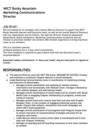 Marketing Communications Job Brief