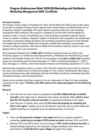 Marketing Management Program Brief