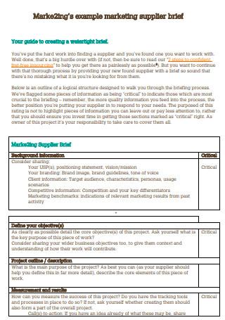 Marketing Supplier Brief