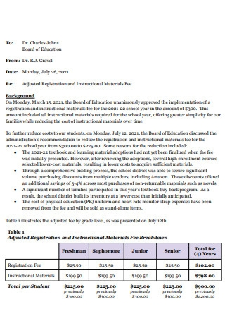 Materials Fee Proposal