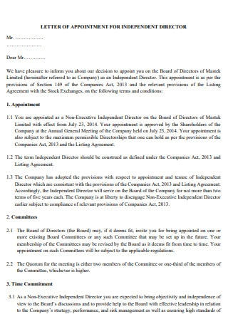 Meeting Appointment Letter for Independent Director