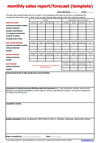 Monthly Sales Business Report Template