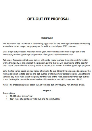 Opt Out Fee Proposal