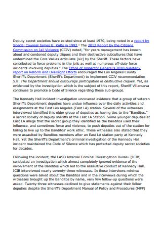 Printable Criminal Investigation Report