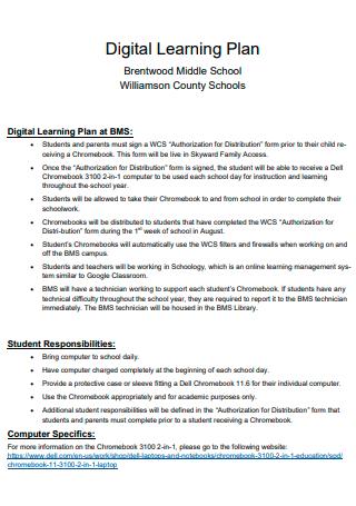 Printable Digital Learning Plan