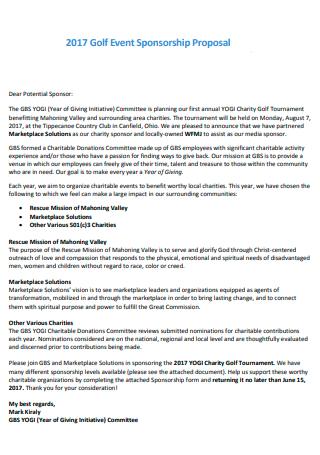 Printable Event Sponsorship Proposal