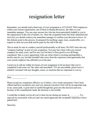 Printable Resignation Letter