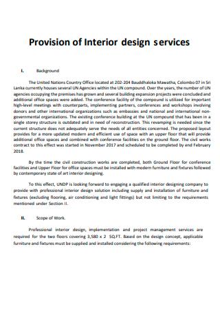 Provision of Interior Design Services Scope of Work