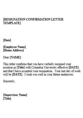 Resignation Confirmation Letter