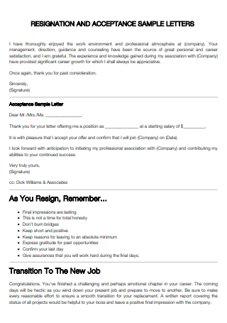 Resignation and Acceptance Letter