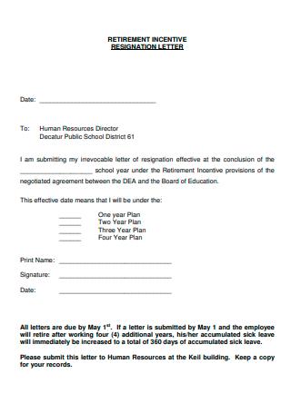 Retirement Incentive Resignation Letter