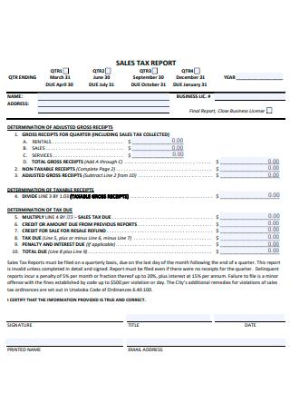 Sales Business Tax Report