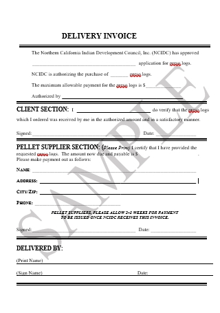 Sample Delivery Invoice