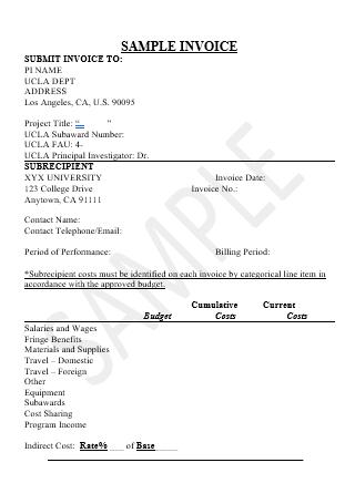 Sample Invoice in DOC