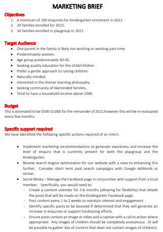 Sample Marketing Brief