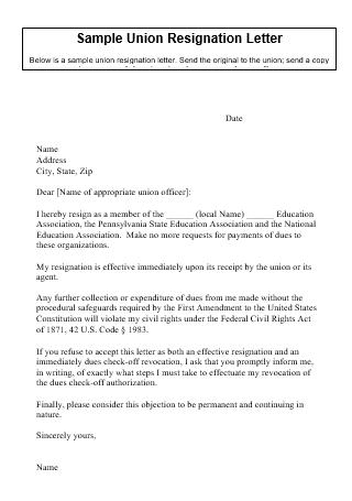 Sample Union Resignation Letter