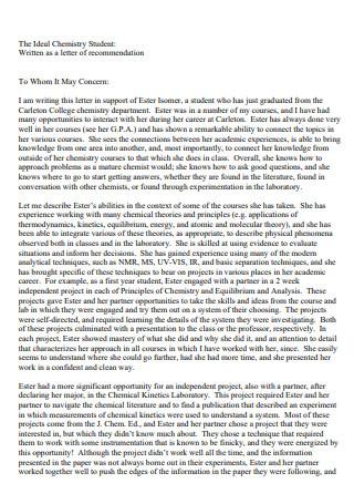 Senior Student Letter Of Recommendation