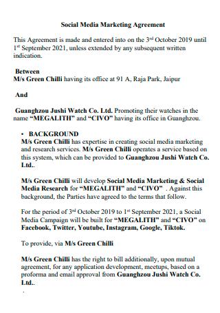 Social Media Marketing Agreement Template