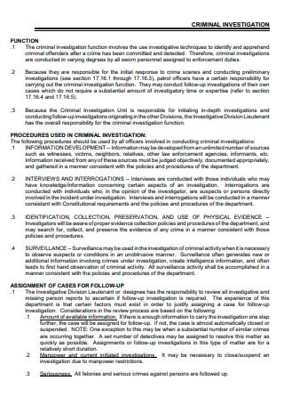 Standard Criminal Investigation Report