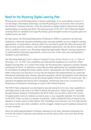 Standard Digital Learning Plan