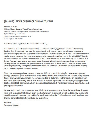 Student Conference Letter Of Recommendation
