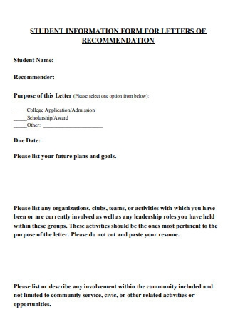 Student Information Form Letter of Recommendation