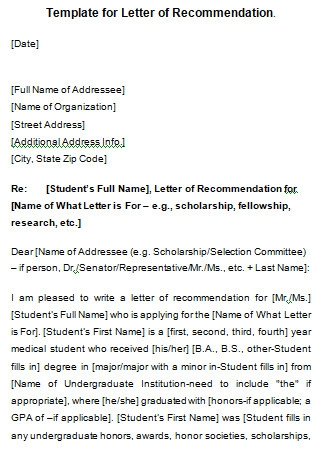 Student Letter Of Recommendation Example