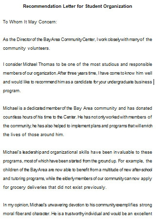 Student Organization Letter Of Recommendation