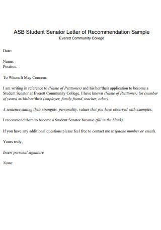 Student Senator Letter of Recommendation