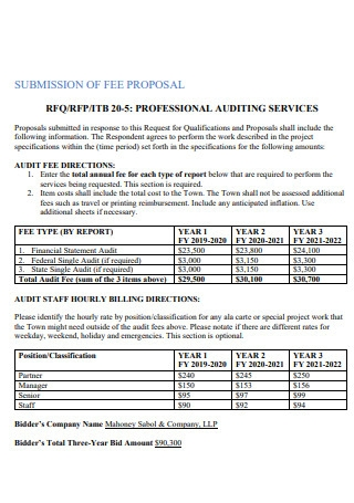 Submittion of Fee Proposal