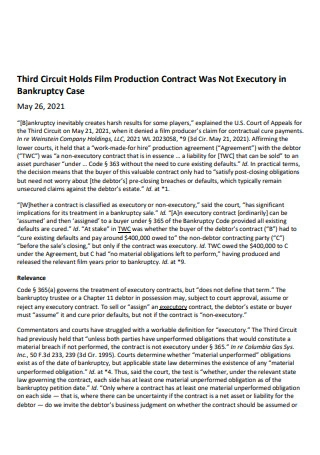 Third Circuit Holds Film Production Contract