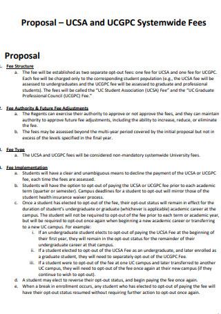 University Fee Proposal