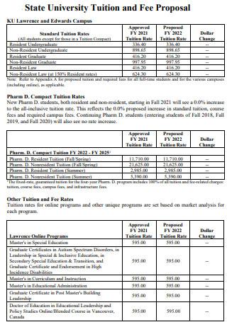 University Tuition Fee Proposal