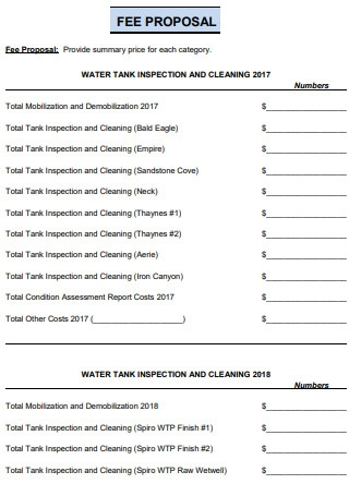 Water Tank Cleaning Fee Proposal
